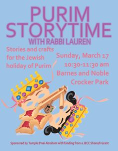 Purim at Barnes & Noble - Sunday, March 17 at 10:30 -